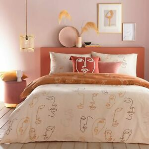 furn Kindred Apricot Peach Blush Abstract Faces Duvet Cover Set Fully Reversible