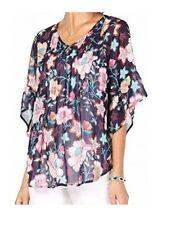 Style & Co. Women Blouse Flutter Sleeve Retro Scarf-Print Pintuck-Pleat Top Blue
