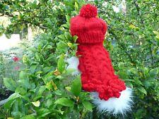 XS handmade Red dog Sweater  dress & Hat set