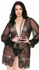 Plus Size Curve Helena Lace Sheer Robe And G-String Black P281 1X-2X