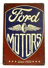 Ford Motors Tin Metal Sign Poster Vintage Style Man Cave Garage Speed Shop Car