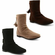 Flat (less than 0.5') Faux Suede Ankle Boots for Women
