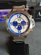 BRAND NEW ARMANI EXCHANGE AX1502 WHITE & BLUE CHRONOGRAPH DIAL SILVER MENS WATCH
