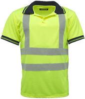Hi Vis Visibility Short Sleeve Work Polo Top  EN471 - HV004 - Yellow or Orange