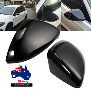 2Pcs Mirror Caps Wing Cover Replacement Gloss Case Shell For VW GOLF MK7 GTI