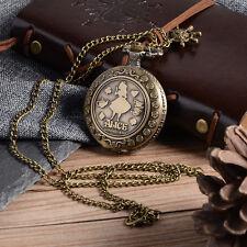 Vintage Alice In Wonderland Inspired Watch Gift Necklace Quartz Pocket Watch UK