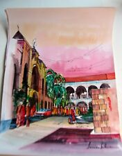 Israeli Art Judaica Jerusalem-The New City Original Watercolor L Lalum-27x19 1/2