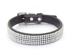 Bling Rhinestone Collar Crystal Diamante Dog Collar Leather Cat Puppy Pet Collar