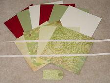 STAMPIN UP & BASIC GREY FRUITCAKE CHRISTMAS WREATH CARD KIT **6** NEW