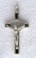 Black Enamel ST BENEDICT Crucifix Catholic Pendant Oxidized Silver Nickel NEW