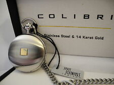 Insert Pocket Watch New Reduced Clearance Colibri Stainless Steeel And 14K Gold