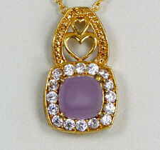 "Elegant Genuine Purple Lavender Jade Pendant w/ Chain 17.5"" 18k Yellow Gold IP"