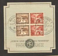 """RARE 1937 STAMP GERMANY """"Leben und Werk des Führers"""" SST 20.4.37 Hamburg"""