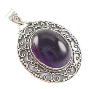 925 Solid Sterling Silver Natural Amethyst Pendant Handmade Designer Jewelry