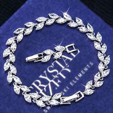 9K White GOLD GF Wedding Marquise LEAF BRACELET with SWAROVSKI CRYSTAL EX759-S