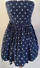 Gorgeous Womens Hollister Navy White Spot Strapless Dress Size Medium