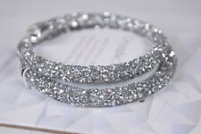 Crystal Crush Womens Bracelet Double Wrap Bracelet Swarovski End Caps Adjustable
