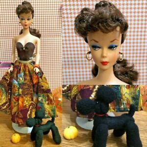 OOAK VINTAGE REPRO PonyTail BARBIE With Posable Poodle Wearing Fall Fashion