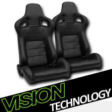 JDM MU Style Black PVC Leather Reclinable Racing Bucket Seats w/Sliders Pair V02