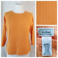 L.L. Bean Medium Orange Cable Knit Sweater 3/4 Sleeves Crew Neck Cotton Stretch