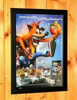 2001 Crash Bandicoot PS1 Rare Vintage Promo Poster / Ad Print Art Framed