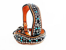 """22"""" TURQUOISE GATOR WESTERN STYLE LEATHER SILVER BLING CANINE DOG COLLAR XL SIZE"""
