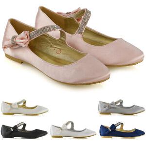 Womens Flat Ballerina Shoes Ladies Cross Diamante Bow Strap Bridal Satin Shoes