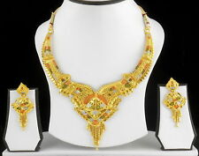 UK Indian Bollywood Gold Plated Jewelry Fashion Wedding Necklace Earrings Set 15