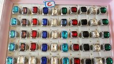 Joblot of 50pcs Mixed Glass Crystal & Antique Fashion Rings - NEW Wholesale C