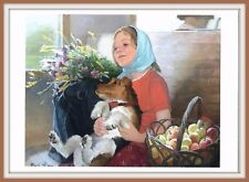 GIRL IN TRAIN Home from country house FOXTERRIER DOG Dacha Russian Art Postcard