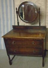 ANTIQUE Early 20th Century Dark Oak Dressing Table With Bevelled Mirror - I08
