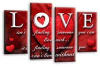 LOVE QUOTE Canvas Wall Art Picture Grey Red White Black Split 4 Panel 112cm