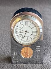 Minature Silver Coloured Clock In Working Order Art Nouveau Style, Quite Heavy
