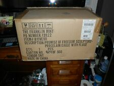 The Franklin Mint Promise Of Freedom Sculpture Procelain Eagle W/ Flage B/New!