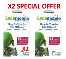 2 x LYCA MOBILE Pay As You Go Triple Cut Sim Card Standard/Micro/Nano BRAND NEW