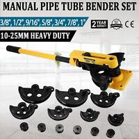 """Manual Pipe Tube Bender Set 3/8"""" 1/2"""" 9/16"""" 5/8"""" 3/4"""" 7/8"""" 1"""" W/ 7 Dies Tool kit"""