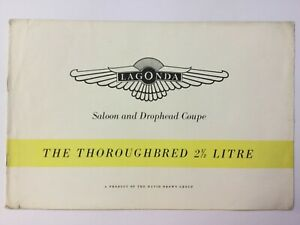 Lagonda saloon and Drophead Coupe 2 1/2 litre The Thoroughbred 1951 brochure