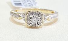 10k Yellow Gold Diamond Halo Square Head Diamond Antique Wedding Bridal Ring