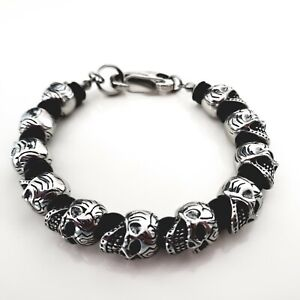 Blackstatic Stainless Steel Skull & Bead Bracelet with Metal Gift Box