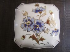 Antique Zsolnay Porcelain Trinket Box Hungary numbered jubilee floral blue tan