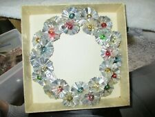 Vintage Silver Foil & Ornament Christmas Wreath Japan Holiday Decorations