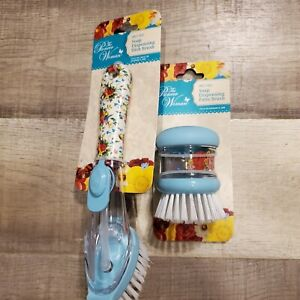 Pioneer Woman Sweet Rose Soap Dispensing Dish Brush Set Scrubber