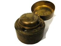 Vintage Brass Leather Wrapped Flip Top Travel Pocket Personal Unique Ashtray