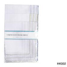 10 Pack Men's Stripe Border  Poly Cotton Handkerchiefs 35 x 30cm Hankie Hanky