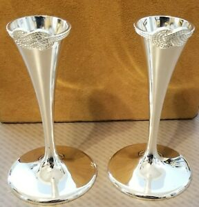 """VERA WANG SILVER INFINITY CANDLESTICK HOLDERS (2) LOVE KNOT 5"""""""