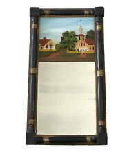 Antique Sheraton Federal Reverse Painted Wooden Mirror Church Split Column 20""
