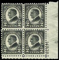612,  Mint F/VF NH 2¢ Plate Block of Four Stamps - Cat $500.00 - Stuart Katz