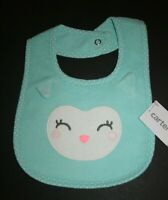 New Carter's Happy Owl Face Bib NWT One Size Touch Closure Girls