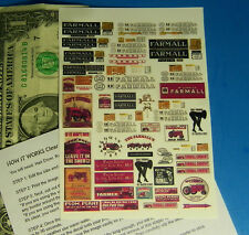 HO 1:87 Railroad Train WHITE Waterslide Decals, BUILDING SIGNS, FARMALL TRACTOR