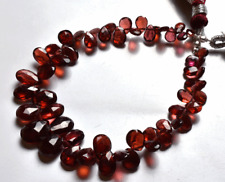 """57.30 CT 6.5"""" SUPER QUALITY RED COLOR GARNET FACETED PEAR SHAPE BEADS 5 TO 10 MM"""